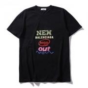 半袖メンズブラックコットンバレンシアガ  TシャツBALENCIAGAプリントおしゃれ人気クルーネックレディース綿高級服