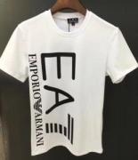 定番品アルマーニ Tシャツ 新作ARMANIクルーネックロゴプリントブラックお買い得高品質コットンホワイト半袖オシャレトップス