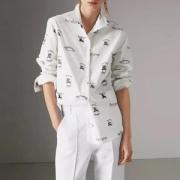 バーバリー コピーカラフルなロゴストレッチコットン上品なシャツレディース可愛いいホワイトビジネスシャツ長袖