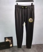 VERSACE ヴェルサーチ ジーンズ メンズ スーパー コピー ストレッチ ブラック ロングパンツ スポーツウェア 調節可能 ゆったり