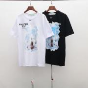 触りが良い   オフホワイト OFF-WHITE  半袖Tシャツ  2019年春夏のトレンド  2色可選