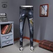 グッチジーンズコピー GUCCI デニム ロングジーンズ 刺繍入り プリント ブルージーンズ 細身 バックパッチ ストリート