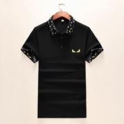 FENDI ポロシャツ 最新のファッションブーム ユニセックス フェンディ スーパーコピー ブラック ホワイト コーデ 品質保証