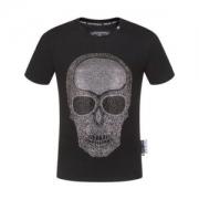 PHILIPP PLEIN tシャツ プリント コピー 通気性と吸汗性に優れたアイテム フィリッププレイン 大注目 ブラック 最安値